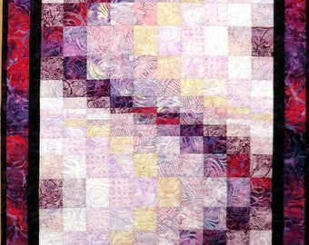 Large Quilted Batik Bargello Runner table bed lavender purple cream fuchsia