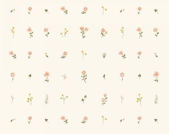 Organic DOUBLE GAUZE Fabric - Birch Little - Morning Bloom Double Gauze