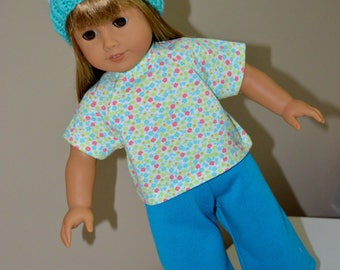 18 Inch Doll Clothes Three Piece Outfit Sweat Pants, Tshirt and Handknit Hat by SEWSWEETDAISY