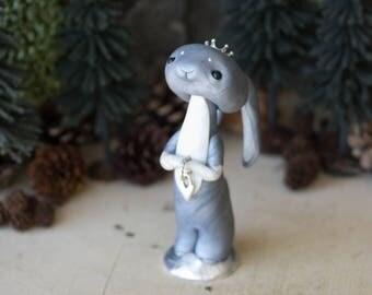 Wishing Rabbit - Grey Rabbit Figurine by Bonjour Poupette