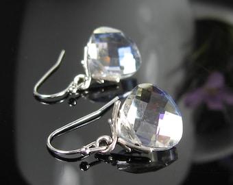 Wedding jewelry, Crystal clear dangle earrings, nickel free earrings, pear shape earrings, bridal earrings, silver earrings dangle, gift