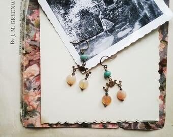 Boho Beaded Dangle Earrings, Colorful Chandelier Earrings, Vintage Style Jewelry for Women