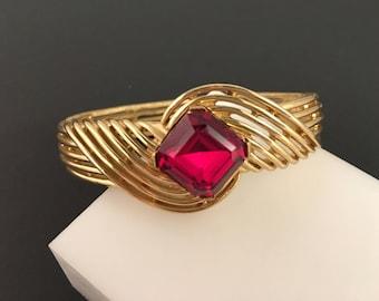 Trifari Rhinestone Bracelet, Vintage Jewelry, Crown Trifari Jewelry, Red Trifari Bracelet, Mid Century Cuff, Vintage Hinged Bangle Bracelet