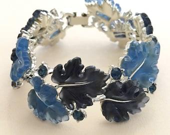 Lisner Blue Leaves Bracelet, Vintage Jewelry, Lisner Lucite Jewelry, Vintage Bracelet, Oak Leaves Rhinestone Bracelet, Blue Lisner Bracelet