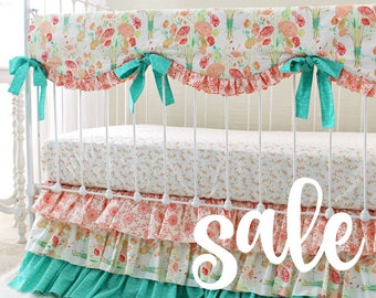 Peach Mint Coral baby bedding , ruffle crib rail cover, coral baby girl bedding set, Reminisce bumperless crib set, mint and coral nursery