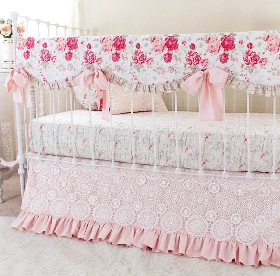 vintage chic pink white and taupe baby girl bedding set vintage inspired bumperless crib bedding with ruffle crib blanket and crochet lace