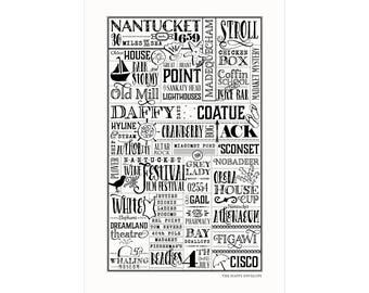 Nantucket, MA Letterpress City Wall Art Print Poster Gift