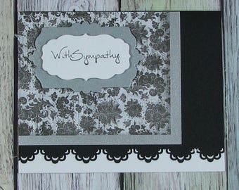 Black, White and Silver Handmade Sympathy card--CB81217-33