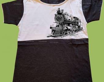 Boys Hooded T-Shirt, Vintage Black shirt, Train, Locomotive, Boys grahic shirt, Birthday outfit, preschool shirt, toddlers,  ChiTownBoutique