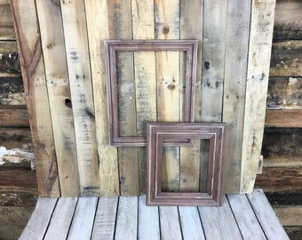 ON SALE - Mahogany Stain Picture Frame Set of 2 Rustic Set, 8x10, 11x14,  Photo Frame, Gallery Frame Set, Lot 227