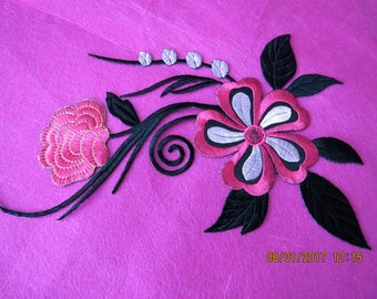 Large iron on embroidered applique. pink and black applique, floral applique