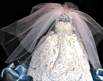 Wedding Bridal shower decoration wedding dress shower decoration, reception centerpiece  bridal bouquetsl, rhinestones