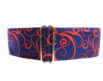 1.5 Inch Martingale Collar, Red Martingale Collar, Swirl Martingale Dog Collar, Navy and Red, Swirl Dog Collar, Red Scrolls on Navy