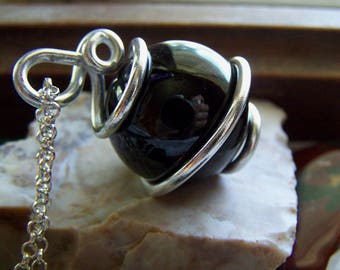 Black Glass Obsidian Gazing Ball Wire Wrapped Pendant