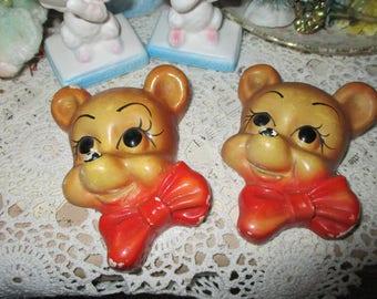 Adorable Chalkware Bears Wall Hanging-Baby-Nursery
