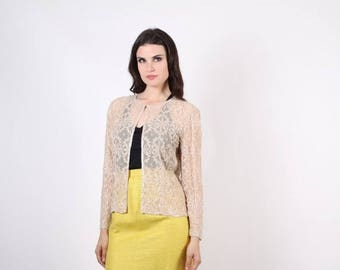 On SALE 45% Off - Sheer Nude Lace Jacket -  beaded Nude Jacket -  Vintage Beaded Jacket  - The Tenderly Jacket  - 7007