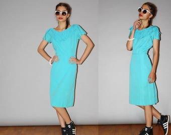 FLASH SALE - 1950s Vintage Designer  Jonathan Logan Rockabilly Turquoise Fringe Cotton Wiggle Dress - Vintage 50s  Pin Up Dress  - WD0881