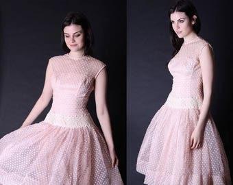 50% Off SALE - Vintage 1950s Dress - 50s Dress - Blush Pink Wedding Dress - 1950s Wedding Dress  - 2854