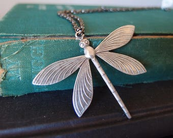 vintage aged brass highly detailed dragonfly necklace