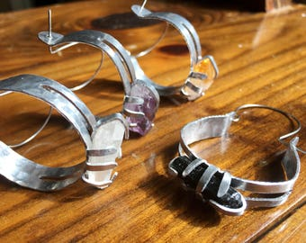 Raw amethyst hoop earrings , mineral hoop earrings, primitive mineral hoop earrings