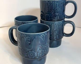 Vintage Coffee Mugs set of 4 Stacking Mugs, Navy Blue Coffee Cups,  Boho Hippy Mushroom Butterfly Bird Flowers  1970s Japan