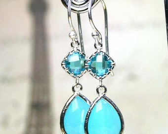 ON SALE Long Sea Blue Jewelled Earrings - Long Teardrop Crystal Earrings in Silver and Aqua Blue - Sterling Silver French Earwire