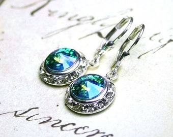 ON SALE Aqua Blue Earrings - Crystal Halo Earrings in Turquoise Blue Green Peridot - Swarovski Crystal in With Sterling Silver Leverbacks