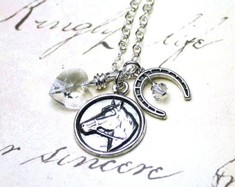 ON SALE The Lucky Horse Coin Pendant - Swarovski Crystal Heart - All Sterling Silver Charm Necklace