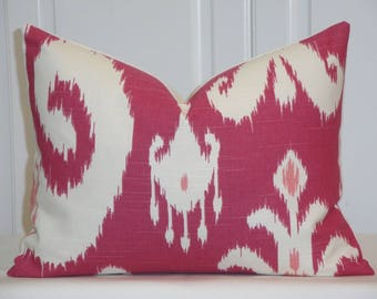 SET OF TWO - 12 x 16 Ikat Decorative Pillow Cover - Throw Pillow - Accent Pillow - Pink - Ivory -  Raspberry