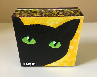 Peekaboo Black Cat -  4x4 Daily Doodle Mini acrylic Painting