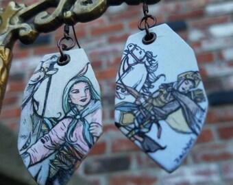 Hua Mulan Wei Kingdom Chinese Legend - hand-painted charm earrings