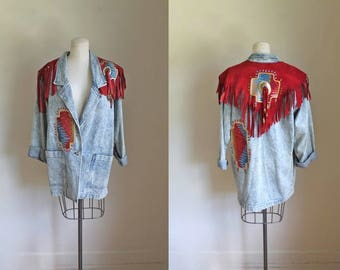 vintage 1980s denim jacket - SUNDANCE acid wash leather fringed blazer / L