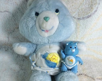 SUMMER SALE 1980s Care Bears Baby Tugs Plush and PVC Posable Figure