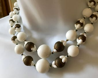 Vintage Miriam Haskell Double Strand Glass Bead Metal Bead Necklace All Original Signed
