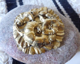 Gold Hibiscus Brooch, Vintage Floral Pin,