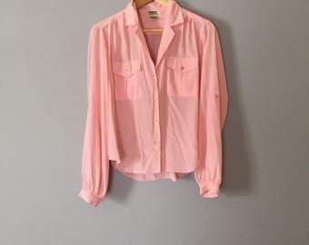 SALE...ballet pink summer blouse | semi sheer envelope pocket blouse