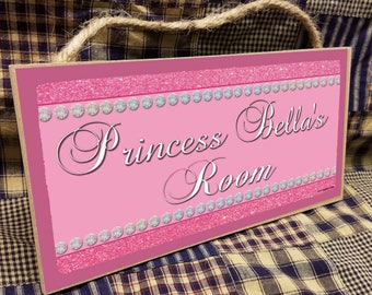 "Personalized ""Your Name"" Glitter Princess Pink Kids Room  5"" x 10"" SIGN Plaque  Decor Customized Custom"