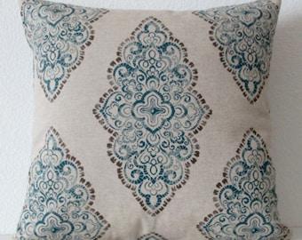 Damask Blue Oatmeal Pillow Cover - lumbar -throw pillow or body pillow cover