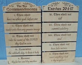 Ten Commandments Wooden Plaque
