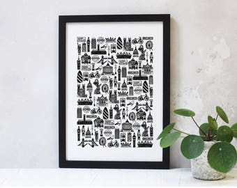 London Print - London Gifts - London Art - London Illustration