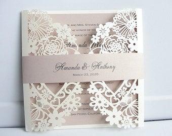 Wedding Invitations Invites Laser Cut Heart Blush