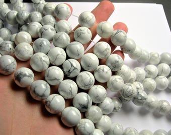 White Howlite turquoise - 16 mm round beads -1 full strand - 20 beads - RFG1298
