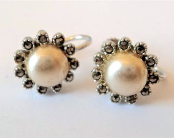 Marcasite & Pearl Screw Earrings.. c.1950s Vintage Clusters