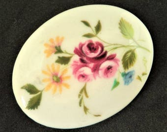 Crown Staffordshire Ceramic Brooch... English China... c.1970s... Rose & Flower