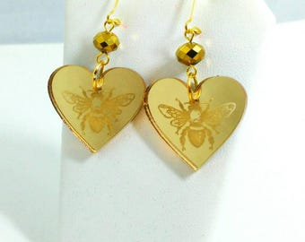 HONEYBEE EARRINGS-Bumblebee Etched Heart Gold Mirror Etched Laser Cut Acrylic With Gold Crystals.