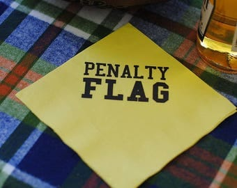 Football Party Napkins, Penalty Flag Napkins, Tailgate, Tailgating Party Supplies, Football Decorations