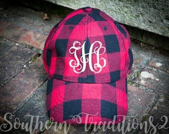 Buffalo Plaid Hat - Monogram Buffalo Plaid hat