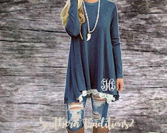 Monogram Pullover Tunic - Ladies Monogrammed Pullover - Women's Blue Lace Sweatshirt
