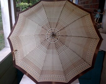 Cool Vintage Umbrella with Brown Orange Cream Design Plastic Handle and Cover