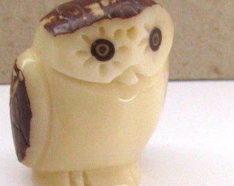 Owl Bead, Tagua Nut Beads, Hand Carved Beads, EcoBeads, Natural Beads, Organic Beads, Vegetable Ivory Beads